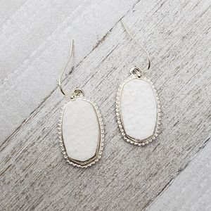 White Etched Oval Earrings